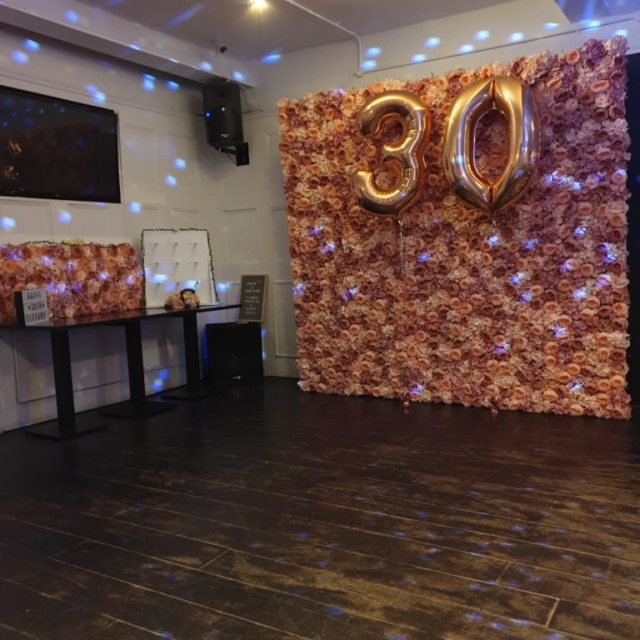 30th birthday flower wall