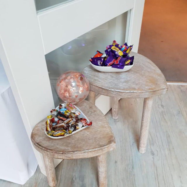 small table with chocolates