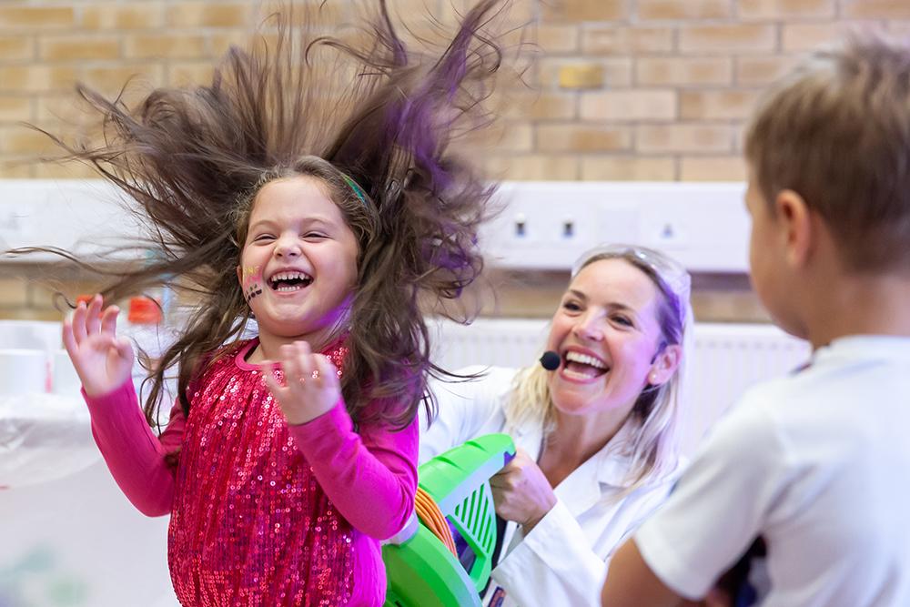 Kids hair blowing